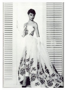 Audrey Hepburn in 1950s gown by French designer Givenchy