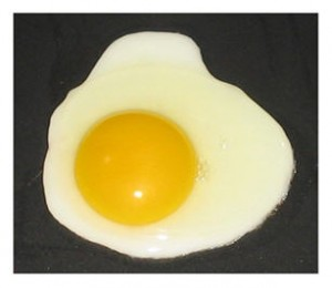 Fried egg sunny side up (sunny side is always easy)