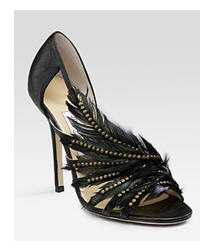 Jimmy Choo Marble Feather Adorned Biker Sandals courtesy Saks Fifth Avenue