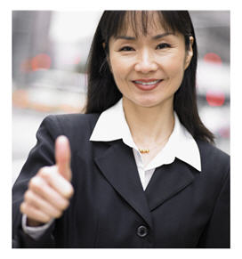 Asian woman with thumbs up
