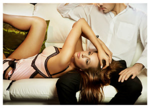 Beautiful Woman in Lingerie With Man
