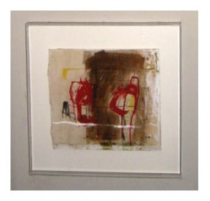 Mixed Media Abstraction Red figures prominently