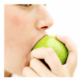 Woman Munching on an Apple