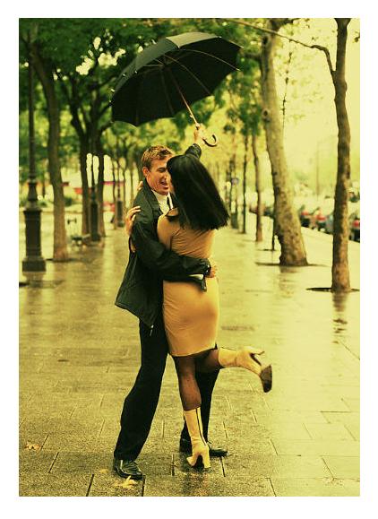 Couple in the Paris Rain