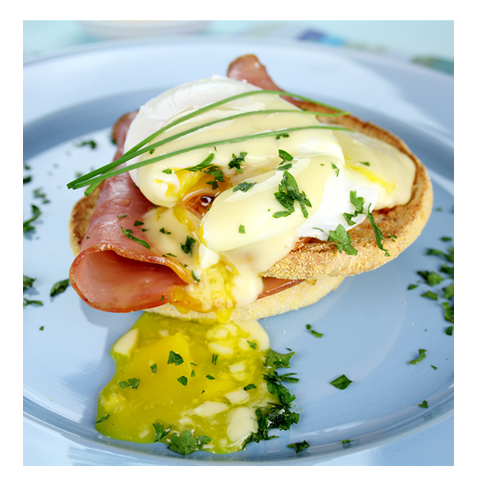 Poached egg on ham and english muffin Pseudo Eggs Benedict