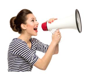Woman Announcing on Megaphone