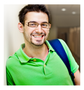 College Student in Glasses