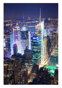 New York City Skyscrapers Night View