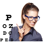 Woman in Bright Blue Glasses pointing to eye chart