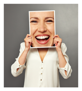 Woman Putting on a Happy Smile