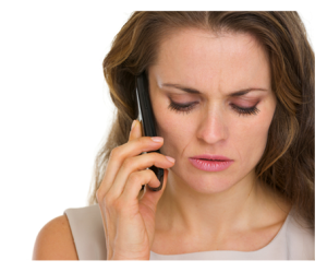 Woman discussing family matter on phone