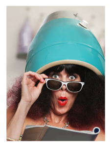 Wacky Woman Under a Hair Dryer Reading