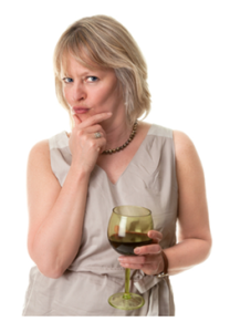 Mature Woman Thinking with Wine in Hand