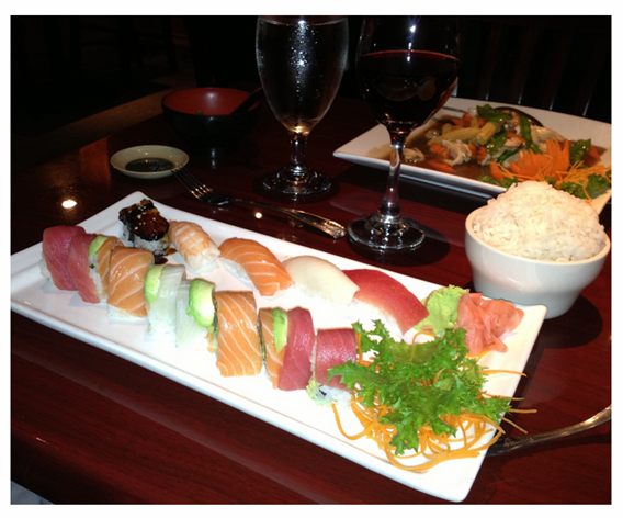 Sushi of Salmon and Tuna_Thai Chicken and Veggies