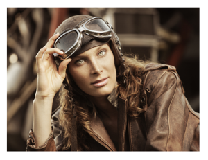 Woman Pilot in Vintage Jacket