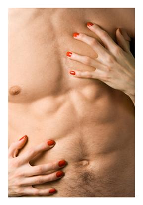 Womans Hands enjoying a mans chest