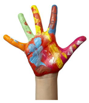 Childs Hand with Paint