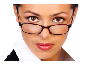Woman with Glasses Inscrutable Expression
