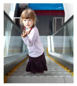Little Girl on an Escalator