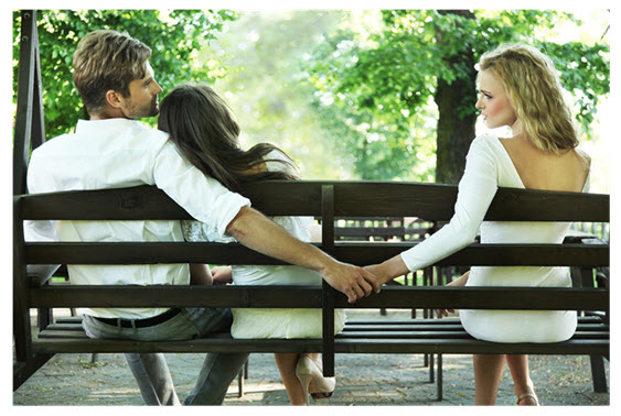 Man Cheating Behind Woman's Back
