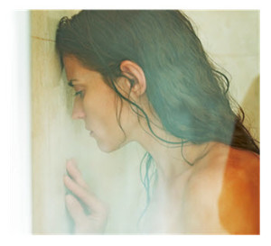 Woman in Shower Leaning