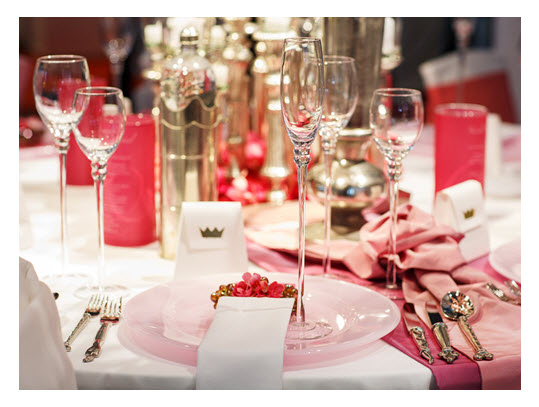 Elegant Table Setting Soft Red and Pink