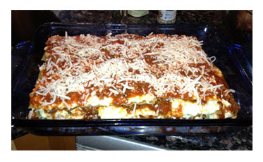 Lasagna ready to go into the oven