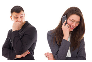 Man Suspicious of his woman on the phone