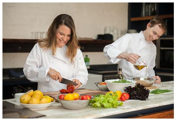 Brigitte and Collen White Apron Chef