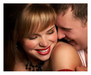 Cute Couple Woman in Red Lipstick