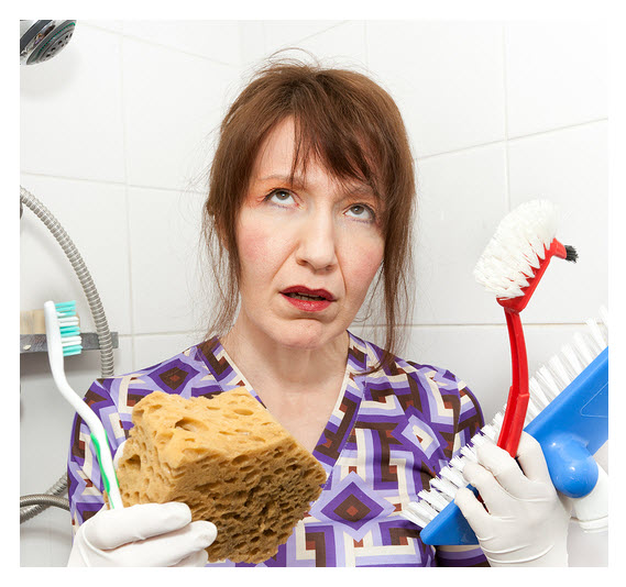 Unhappy Cleaning Woman