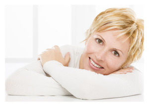 Confident Smiling 40 year old woman