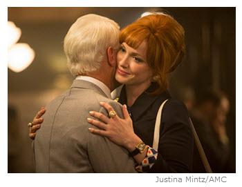 Mad Men Season 7 Episode 11 Joan Hugs Roger in the Bar