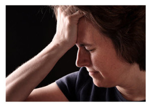Depressed Middle Aged Woman Dark Background