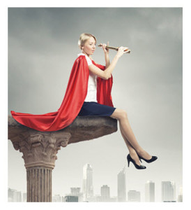 Woman in Red Superwoman Cape