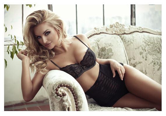 Beautiful Blonde in Black Underwear