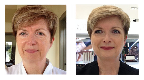 Makeup Makeover Sue_Before and After