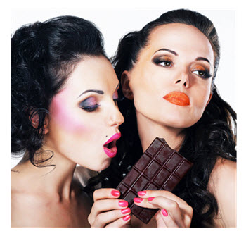 Two Women One Bar of Chocolate