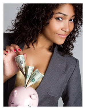Woman Saving Money_Piggy Bank