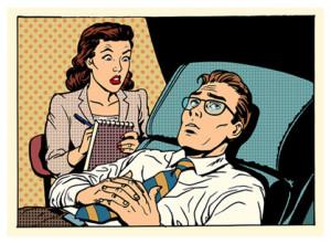 Female Psychologist Male Patient_Cartoon