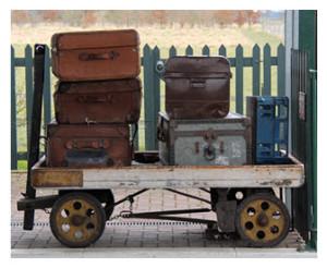 Old Luggage on Railway Trolley