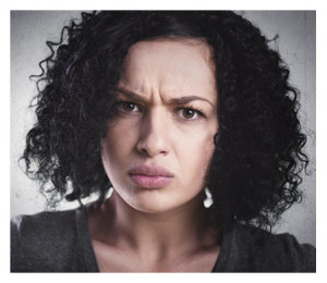Beautiful Frowning Mixed Ethnic Woman
