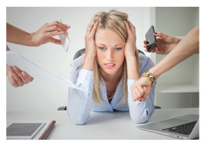 Stressed Woman Overwhelmed With Demands
