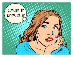 Retro Cartoon Woman Asking Could I_Should I