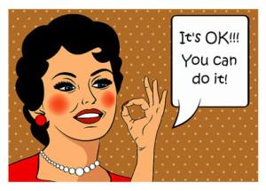 Retro Cartoon Woman Saying Its Okay