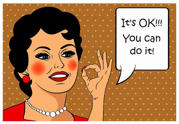 Retro Cartoon Woman Saying OK 575