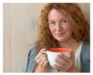 Smiling 40 Something Year Old Woman With Tea