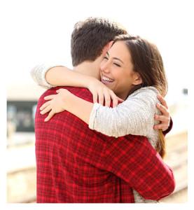 Couple Hugging Hello