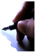 A writer reaches for the pen - no matter where no matter when...