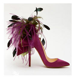 Christian Louboutin Satin Pump with Feathers